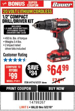 "Harbor Freight Coupon BAUER 20 VOLT LITHIUM CORDLESS 1/2"" COMPACT DRILL/DRIVER KIT Lot No. 64754/63531 Expired: 9/2/18 - $64.99"
