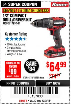 "Harbor Freight Coupon BAUER 20 VOLT LITHIUM CORDLESS 1/2"" COMPACT DRILL/DRIVER KIT Lot No. 64754/63531 Expired: 12/2/18 - $64.99"