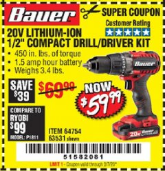 "Harbor Freight Coupon BAUER 20 VOLT LITHIUM CORDLESS 1/2"" COMPACT DRILL/DRIVER KIT Lot No. 64754/63531 Expired: 3/7/20 - $59.99"