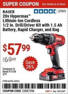 "Harbor Freight Coupon BAUER 20 VOLT LITHIUM CORDLESS 1/2"" COMPACT DRILL/DRIVER KIT Lot No. 64754/63531 Expired: 9/28/20 - $57.99"