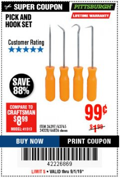Harbor Freight Coupon 4 PC. PICK AND HOOK SET Lot No. 63697/63765/66836 Expired: 9/1/19 - $0.99