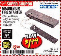 Harbor Freight Coupon MAGNESIUM FIRE STARTER Lot No. 69457/63733/66560 Expired: 3/31/20 - $1.49