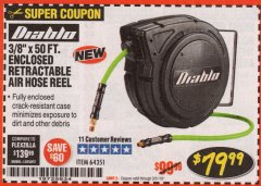 "Harbor Freight Coupon 3/8"" X 50 FT. ENCLOSED RETRACTABLE AIR HOSE REEL Lot No. 56876 Expired: 3/31/19 - $79.99"