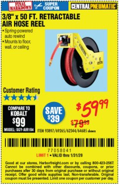 "Harbor Freight Coupon 3/8"" X 50 FT. ENCLOSED RETRACTABLE AIR HOSE REEL Lot No. 56876 Expired: 1/31/20 - $59.99"