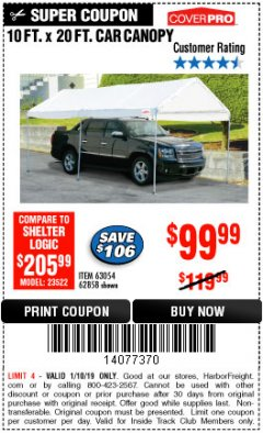 Harbor Freight ITC Coupon 10 FT. X 20 FT. PORTABLE CAR CANOPY Lot No. 63054/62858 Expired: 1/10/19 - $99.99