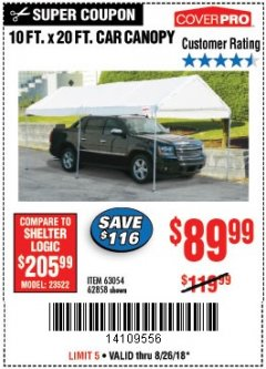 Harbor Freight Coupon 10 FT. X 20 FT. PORTABLE CAR CANOPY Lot No. 63054/62858 Expired: 8/26/18 - $89.99