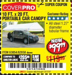 Harbor Freight Coupon 10 FT. X 20 FT. PORTABLE CAR CANOPY Lot No. 63054/62858 Expired: 12/17/18 - $99.99