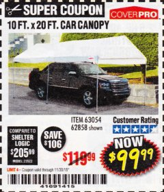 Harbor Freight Coupon 10 FT. X 20 FT. PORTABLE CAR CANOPY Lot No. 63054/62858 Expired: 11/30/18 - $99.99