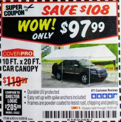 Harbor Freight Coupon 10 FT. X 20 FT. PORTABLE CAR CANOPY Lot No. 63054/62858 Expired: 12/31/18 - $97.99