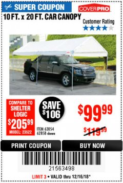 Harbor Freight Coupon 10 FT. X 20 FT. PORTABLE CAR CANOPY Lot No. 63054/62858 Expired: 12/16/18 - $99.99