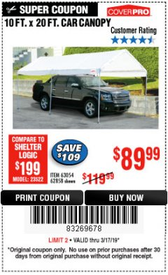 Harbor Freight Coupon 10 FT. X 20 FT. PORTABLE CAR CANOPY Lot No. 63054/62858 Expired: 3/17/19 - $89.99