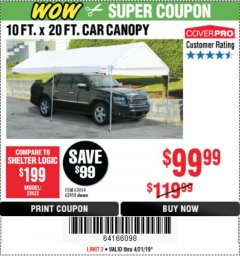 Harbor Freight Coupon 10 FT. X 20 FT. PORTABLE CAR CANOPY Lot No. 63054/62858 Expired: 4/21/19 - $99.99