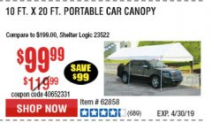 Harbor Freight Coupon 10 FT. X 20 FT. PORTABLE CAR CANOPY Lot No. 63054/62858 Expired: 4/30/19 - $99.99