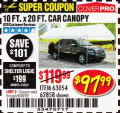 Harbor Freight Coupon 10 FT. X 20 FT. PORTABLE CAR CANOPY Lot No. 63054/62858 Expired: 6/30/19 - $97.99