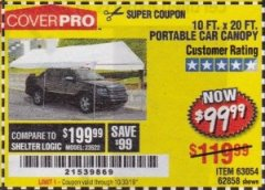 Harbor Freight Coupon 10 FT. X 20 FT. PORTABLE CAR CANOPY Lot No. 63054/62858 Expired: 10/30/19 - $99.99