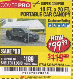 Harbor Freight Coupon 10 FT. X 20 FT. PORTABLE CAR CANOPY Lot No. 63054/62858 Expired: 12/13/19 - $99.99