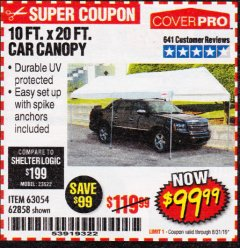 Harbor Freight Coupon 10 FT. X 20 FT. PORTABLE CAR CANOPY Lot No. 63054/62858 Expired: 8/31/19 - $99.99