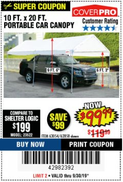 Harbor Freight Coupon 10 FT. X 20 FT. PORTABLE CAR CANOPY Lot No. 63054/62858 Expired: 9/30/19 - $99.99