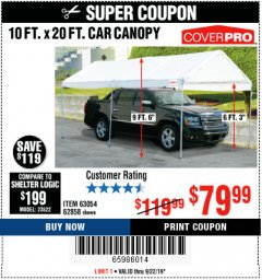 Harbor Freight Coupon 10 FT. X 20 FT. PORTABLE CAR CANOPY Lot No. 63054/62858 Expired: 9/22/19 - $79.99