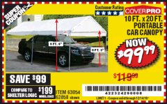 Harbor Freight Coupon 10 FT. X 20 FT. PORTABLE CAR CANOPY Lot No. 63054/62858 Expired: 12/14/19 - $99.99