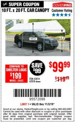 Harbor Freight Coupon 10 FT. X 20 FT. PORTABLE CAR CANOPY Lot No. 63054/62858 Expired: 11/3/19 - $99.99