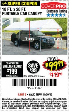Harbor Freight Coupon 10 FT. X 20 FT. PORTABLE CAR CANOPY Lot No. 63054/62858 Expired: 11/30/19 - $99.99