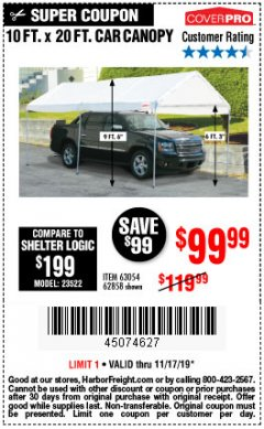 Harbor Freight Coupon 10 FT. X 20 FT. PORTABLE CAR CANOPY Lot No. 63054/62858 Expired: 11/17/19 - $99.99