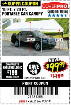 Harbor Freight Coupon 10 FT. X 20 FT. PORTABLE CAR CANOPY Lot No. 63054/62858 Expired: 12/8/19 - $99.99