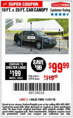 Harbor Freight Coupon 10 FT. X 20 FT. PORTABLE CAR CANOPY Lot No. 63054/62858 Expired: 11/27/19 - $99.99