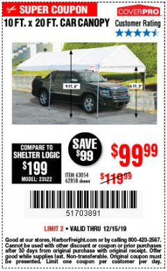 Harbor Freight Coupon 10 FT. X 20 FT. PORTABLE CAR CANOPY Lot No. 63054/62858 Expired: 12/15/19 - $99.99