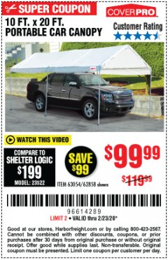 Harbor Freight Coupon 10 FT. X 20 FT. PORTABLE CAR CANOPY Lot No. 63054/62858 Expired: 2/23/20 - $99.99