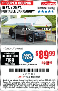 Harbor Freight Coupon 10 FT. X 20 FT. PORTABLE CAR CANOPY Lot No. 63054/62858 Expired: 3/22/20 - $89.99