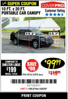 Harbor Freight Coupon 10 FT. X 20 FT. PORTABLE CAR CANOPY Lot No. 63054/62858 Valid Thru: 4/30/20 - $99.99