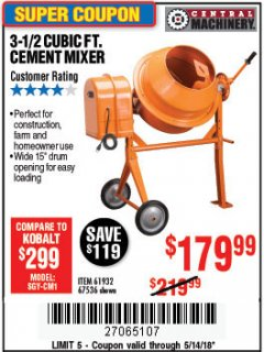 Harbor Freight Coupon 3-1/2 CUBIC FT. CEMENT MIXER Lot No. 67536/61932 Expired: 5/14/18 - $179.99