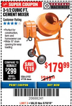 Harbor Freight Coupon 3-1/2 CUBIC FT. CEMENT MIXER Lot No. 67536/61932 Expired: 6/10/18 - $179.99