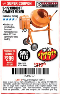 Harbor Freight Coupon 3-1/2 CUBIC FT. CEMENT MIXER Lot No. 67536/61932 Expired: 7/31/18 - $179.99