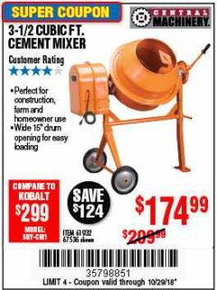 Harbor Freight Coupon 3-1/2 CUBIC FT. CEMENT MIXER Lot No. 67536/61932 Expired: 10/29/18 - $174.99