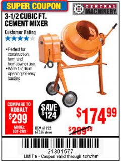 Harbor Freight Coupon 3-1/2 CUBIC FT. CEMENT MIXER Lot No. 67536/61932 Expired: 12/17/18 - $174.99