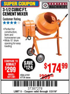 Harbor Freight Coupon 3-1/2 CUBIC FT. CEMENT MIXER Lot No. 67536/61932 Expired: 1/21/19 - $174.99