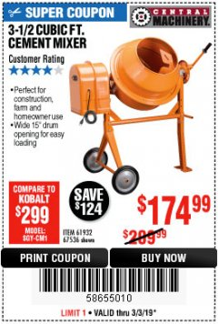 Harbor Freight Coupon 3-1/2 CUBIC FT. CEMENT MIXER Lot No. 67536/61932 Expired: 3/3/19 - $174.99