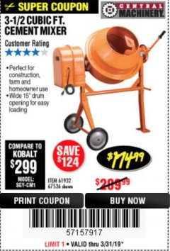 Harbor Freight Coupon 3-1/2 CUBIC FT. CEMENT MIXER Lot No. 67536/61932 Expired: 3/31/19 - $174.99