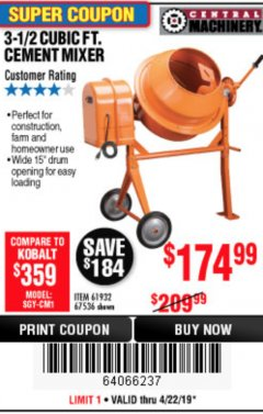 Harbor Freight Coupon 3-1/2 CUBIC FT. CEMENT MIXER Lot No. 67536/61932 Expired: 4/23/19 - $174.99