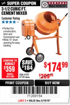 Harbor Freight Coupon 3-1/2 CUBIC FT. CEMENT MIXER Lot No. 67536/61932 Expired: 5/19/19 - $174.99