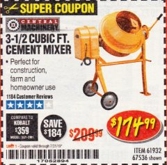 Harbor Freight Coupon 3-1/2 CUBIC FT. CEMENT MIXER Lot No. 67536/61932 Expired: 7/31/19 - $174.99