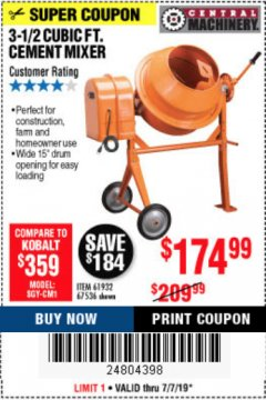 Harbor Freight Coupon 3-1/2 CUBIC FT. CEMENT MIXER Lot No. 67536/61932 Expired: 7/7/19 - $174.99