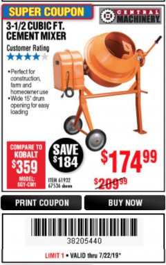 Harbor Freight Coupon 3-1/2 CUBIC FT. CEMENT MIXER Lot No. 67536/61932 Expired: 7/22/19 - $174.99
