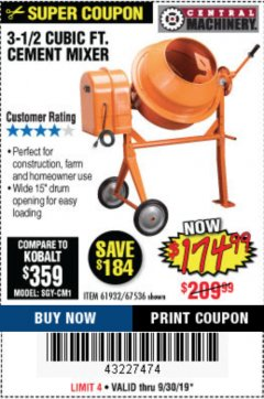 Harbor Freight Coupon 3-1/2 CUBIC FT. CEMENT MIXER Lot No. 67536/61932 Expired: 9/30/19 - $174.99
