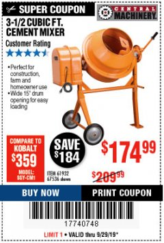 Harbor Freight Coupon 3-1/2 CUBIC FT. CEMENT MIXER Lot No. 67536/61932 Expired: 9/29/19 - $174.99
