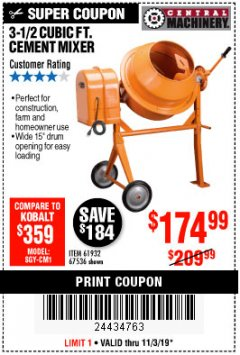 Harbor Freight Coupon 3-1/2 CUBIC FT. CEMENT MIXER Lot No. 67536/61932 Expired: 11/3/19 - $174.99