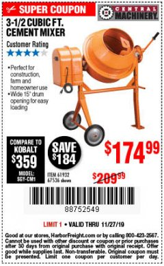 Harbor Freight Coupon 3-1/2 CUBIC FT. CEMENT MIXER Lot No. 67536/61932 Expired: 11/27/19 - $174.99